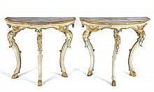 A pair of Italian carved and painted and parcel-gilt demi-lune console tables, 18th century (2)