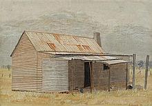 HELEN OGILVIE 1902-1993 Boundary Rider's Hut, Wagga, NSW 1973 tempera on board