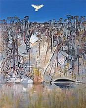 ARTHUR BOYD 1920-1999 Shoalhaven River with White Cockatoo (1984) oil on canvas