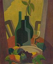 ALISON REHFISCH 1900-1975 Still Life with Bottles and Fruit (circa 1949) oil on board