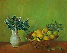 MARGARET OLLEY 1923-2011 Basket with Limes (1965) oil on board