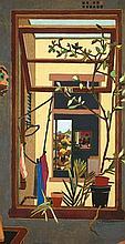 CRESSIDA CAMPBELL born1960 Through Windows 1984 woodblock