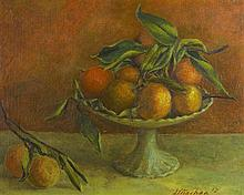 DAVID STRACHAN 1919-1970 Still Life with Compote of Oranges 1967 oil on composition board