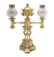 A George lV Argand ormolu two burner mantel lamp, circa 1825