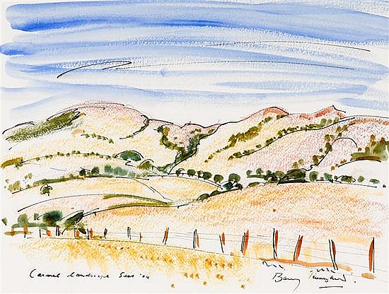 BARRY HUMPHRIES born 1934 The Murdoch Ranch, Carmel I 2004 ink, pastel and watercolour on paper