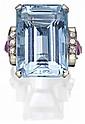 AQUAMARINE, DIAMOND AND RUBY RING, 1940s COMPOSITE