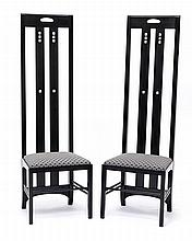 A pair of high back 'Ingram' chairs by Cassina, after Charles Rennie Mackintosh, circa 1990 (2)