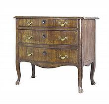 A fine Italian, walnut veneered commode, mid 18th century