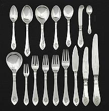 A Danish silver flatware service designed by Georg Jensen in 1906, mark of Georg Jensen, 1910-1925 and 1915-1927, Denmark (193)