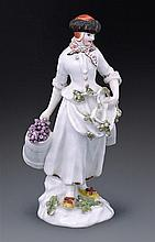 A Meissen figure of a gardener, after Eberlein, circa 1745