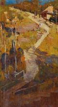 ARTHUR STREETON 1867-1943 The Path to Podge Newton's (1895) oil on wood panel 28 x 15 cm