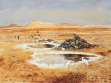 ARTHUR BOYD 1920-1999 Landscape with Waterhole and Herons, near Alice Springs 1954 oil, tempera and resin on composition board 91.5...