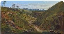 EUGENE VON GUÉRARD 1811-1901 Breakneck Gorge, Hepburn Springs 1864 oil on canvas 53.0 x 98.7 cm frame: original, maker unknown, Melb...