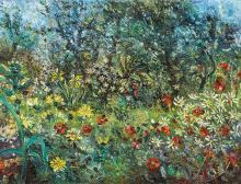 JOHN PERCEVAL 1923-2000 Neil Douglas' Garden 1958 oil on canvas on composition board 45.7 x 61 cmframe: original, Martin Smith, Melb..
