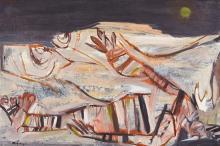 JON MOLVIG 1923-1970 Centralian Nocturne 1959 oil and wax on board 75.9 x 113.8 cmframe: original, maker unknown