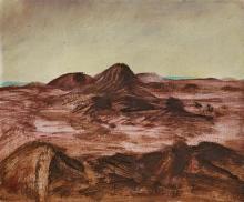 SIDNEY NOLAN 1917-1992 Inland Landscape 1950 oil on enamel paint on composition board 26.0 x 30.5 cm