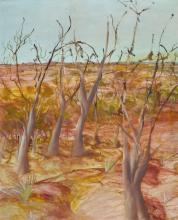 SIDNEY NOLAN 1917-1992 Withered Trees (1952) oil and enamel paint on composition board 75.5 x 62.7 cm