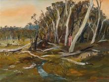 ARTHUR BOYD 1920-1999 Landscape with Lovers (circa 1980) oil on canvas 89.5 x 121 cm