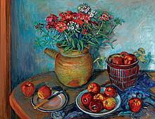 MARGARET OLLEY 1923-2011 Sweet Williams and Apples (1990) oil on composition board