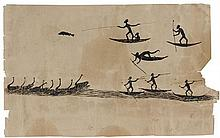 YACKADUNA (TOMMY MCRAE) circa 1835-1901 (Spearing Fish and Black Swans) (circa 1890) ink on paper