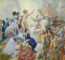 NORMAN LINDSAY 1879-1969 Spoils of Peace 1949 watercolour on paper