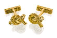 Pair of 18ct gold cufflinks, Hermès