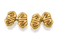 Pair of 18ct gold 'Saetta' cufflinks, Bulgari