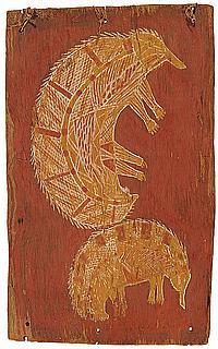 Anchor Barbuwa Wurrkidj circa 1924-1977 TWO ECHIDNA (CIRCA 1960) natural earth pigments on eucalyptus bark
