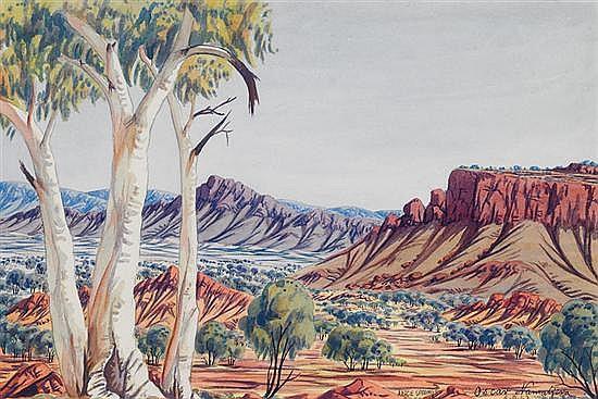 Oscar Namatjira 1922-1991 UNTITLED (CENTRAL AUSTRALIAN LANDSCAPE) 1963 watercolour and pencil