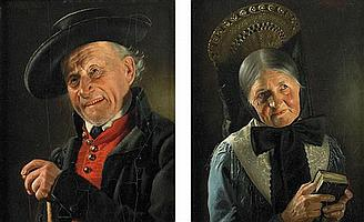 Attributed to Albert Wagner 1816-1867 (PAIR OF PORTRAITS) oil on panel