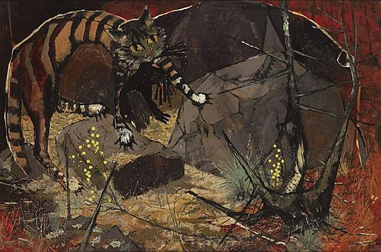 Clifton Pugh 1924-1990 A FERAL CAT 1957 oil on composition board
