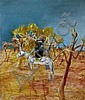 Sidney Nolan 1917-1992 NED KELLY IN THE BUSH 1955 enamel paint on composition board, Sir Sidney Nolan, Click for value