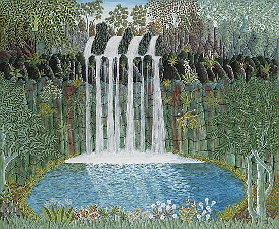 Henri Bastin 1896-1979 WATERFALL 1966 oil on composition board