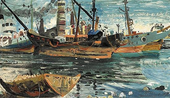 John Perceval 1923-2000 SHIP'S GRAVEYARD 1956 oil and tempera on composition board
