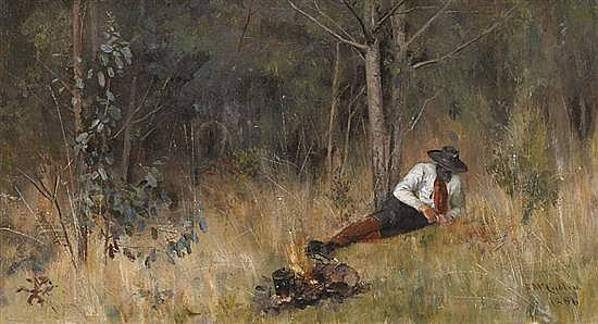 Frederick McCubbin 1855-1917 WHISPERINGS IN WATTLE BOUGHS 1886 oil on canvas