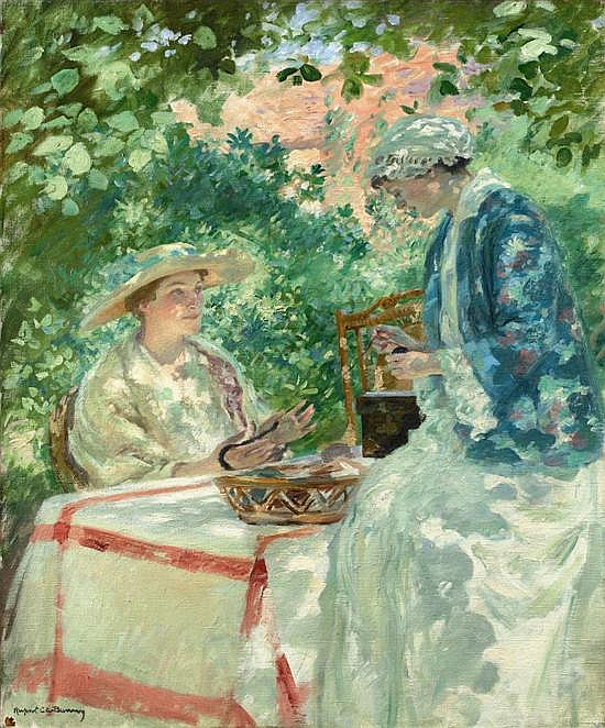 Rupert Bunny 1864-1947 DEVIDEUSESWINDING A SKEIN (1915) oil on canvas