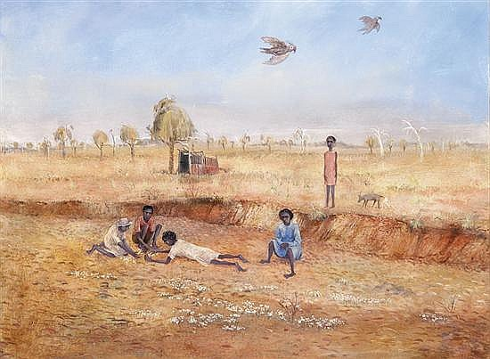 Arthur Boyd 1920-1999 DRY CREEK BED, ALICE SPRINGS (1953-1954) oil, tempera and resin on composition board