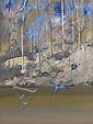 Arthur Boyd 1920-1999 SHOALHAVEN RIVERBEND WITH BLUE HERON (1979) oil on composition board