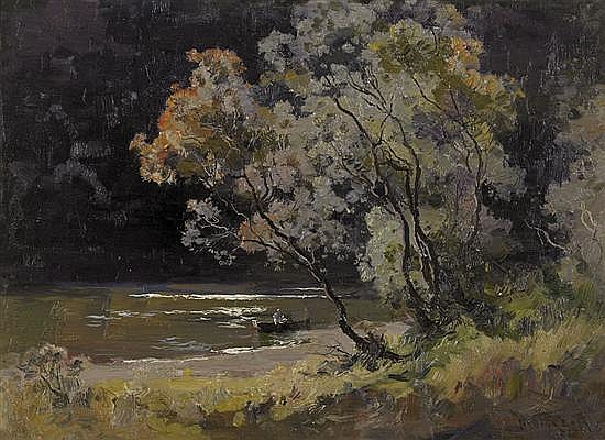 Penleigh Boyd 1890-1923 ON THE YARRA 1922 oil on canvas on board