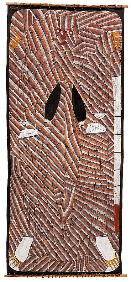 Samuel Namundja born 1965 UNTITLED (1990) natural earth pigments and synthetic binders on eucalyptus bark