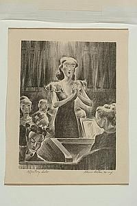 A PENCIL SIGNED LITHOGRAPH BY GLENN GOLTON