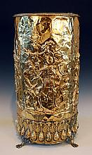 19TH CENTURY EMBOSSED BRASS KINDLING STAND