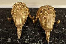 18TH C. CARVED AND GILDED WOOD GOAT'S HEAD ORNAMENTS