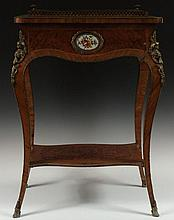 19TH C. FRENCH MARQUETRY FERNER WITH PAINTED PLAQUES