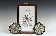 CHINESE PAINTED PORCELAIN AND HARDSTONE PLAQUES