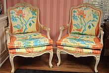 PAIR PAINTED FRENCH FAUTEUIL OPEN ARM CHAIRS