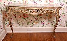 PAIR PAINTED CONSOLE TABLES WITH FAUX MARBLE DECORATION