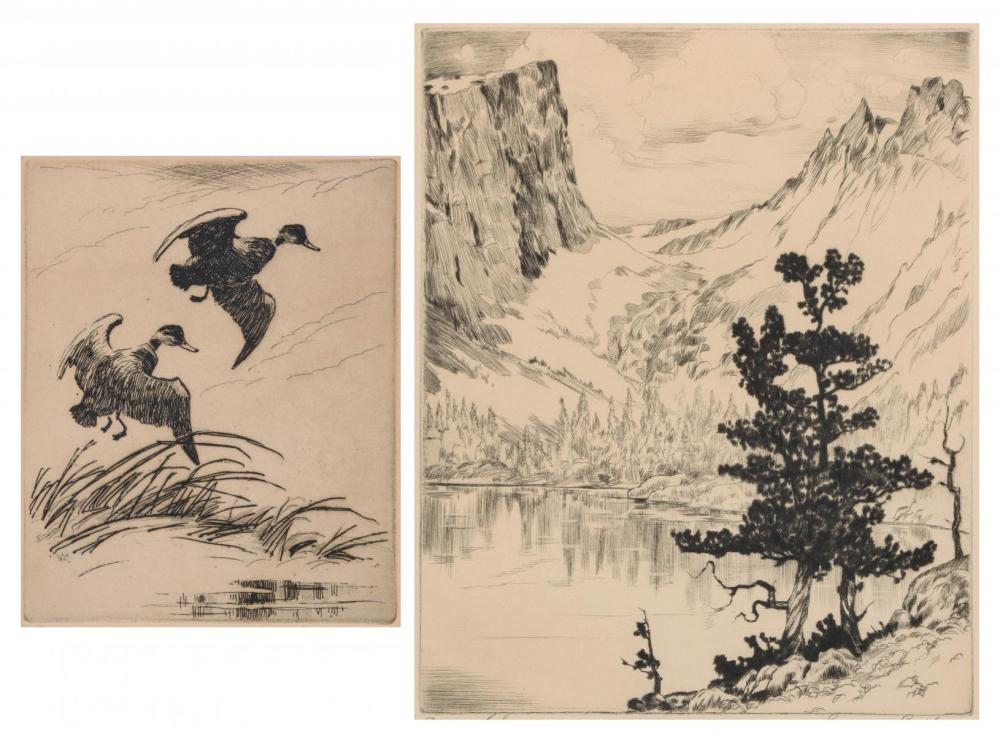 BYXBE AND SEWARD PENCIL SIGNED DRYPOINT ETCHINGS