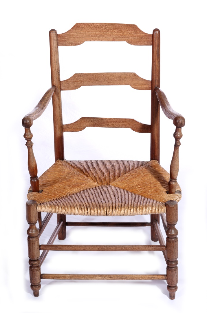 two pair 19thc country french rush seat chairs