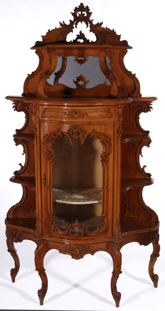 a late 19th c french rococo etagere with vitrine. Black Bedroom Furniture Sets. Home Design Ideas